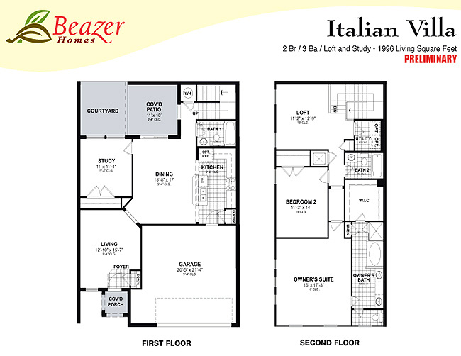 Sumerlin floor plans for Italian villa plans